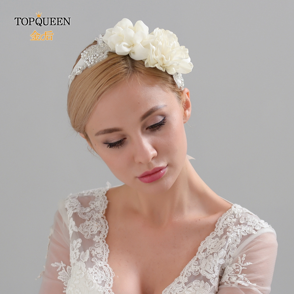 TOPQUEEN Wedding Flower Headband  Bridal Headband With Flower Bridal Hair Accessories For Wedding  Floral Wedding Hairband H172