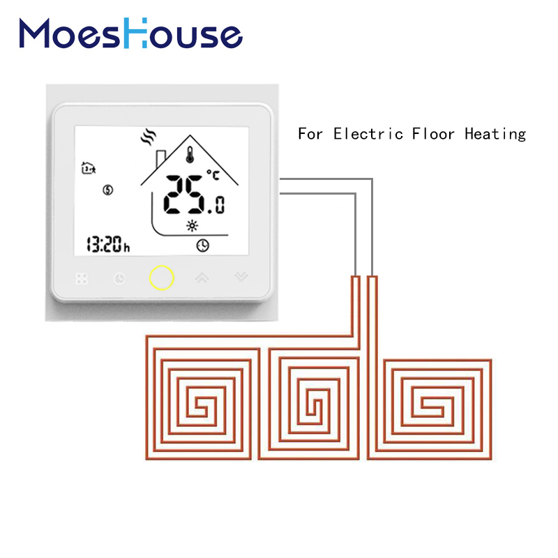 Thermostat Temperature Controller LCD Touch Screen Backlight Warm Floor Electric Underfloor Heating 16A Weekly ProgrammableThermostat Temperature Controller LCD Touch Screen Backlight Warm Floor Electric Underfloor Heating 16A Weekly Programmable