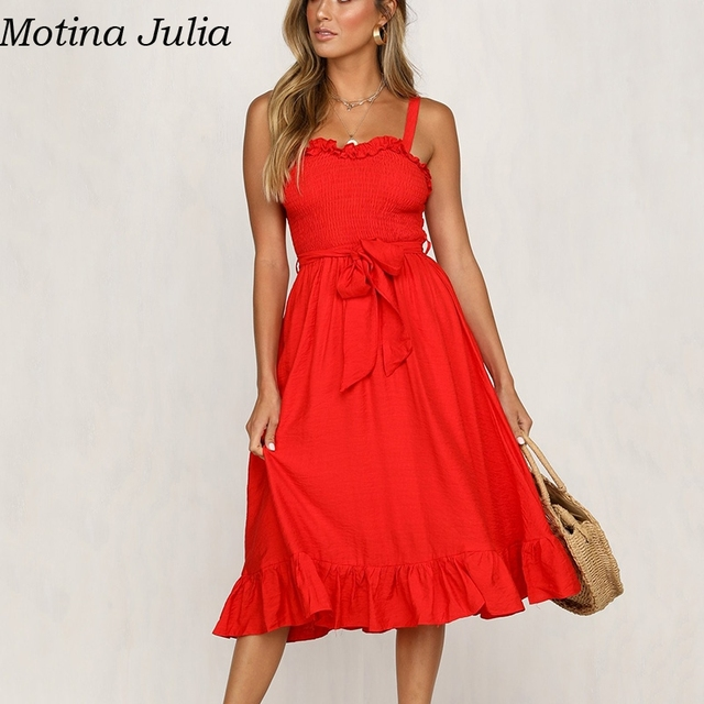 35baff6b1 Barato Motina Julia Sexy de arco largo vestido verano las mujeres ...
