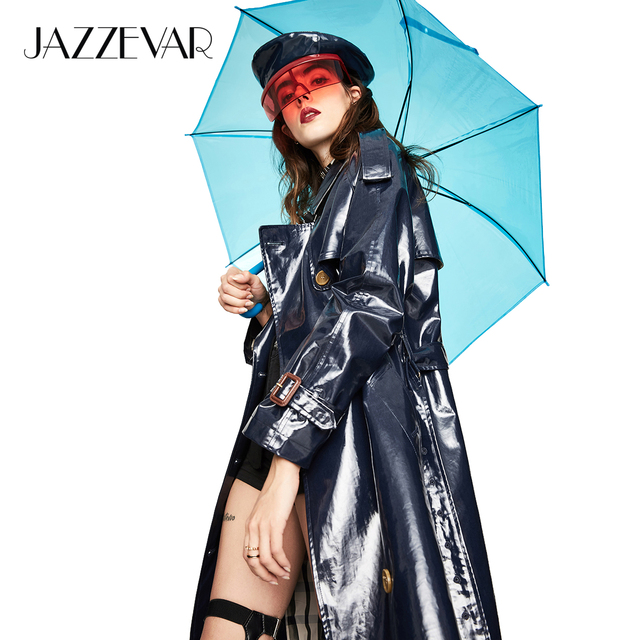 JAZZEVAR 2018 New Autumn High Street Women's Waterproof TPU Long The Westminster Heritage Trench Coat Top Quality
