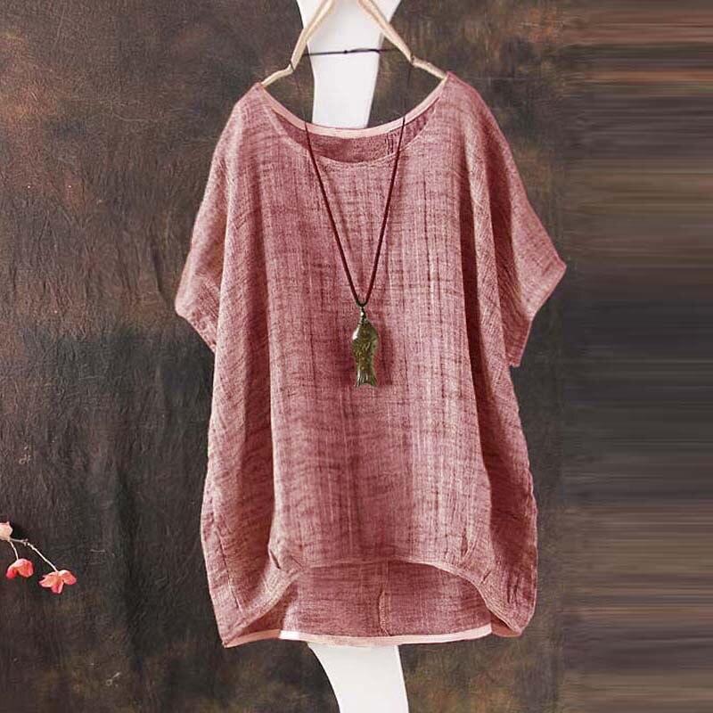 2018 Summer Women Blouses Cotton Linen Tops Loose Casual Shirt Plus Size 1