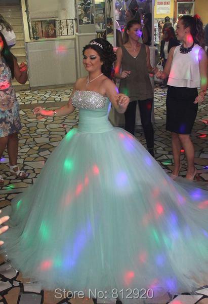 Strapless Rhinestone Diamond Puffy Ball Gowns Aqua Green Wedding