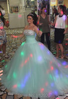 Strapless Rhinestone Diamond Puffy Ball Gowns Aqua Green Wedding Dress
