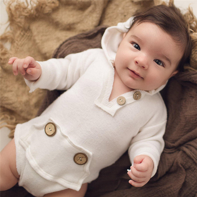 baby winter jumpsuit Long Sleeve Hooded Button   Romper   Jumpsuit Tops Clothes Outfits boys fall white outfits kinderkleding