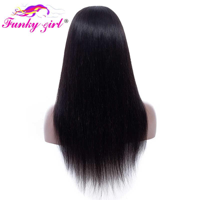Funky Girl 4x4 парики из натуральных волос на кружеве для черных женщин 150% парики из натуральных волос с волосами для малышей 200 г перуанские прямые волосы Реми