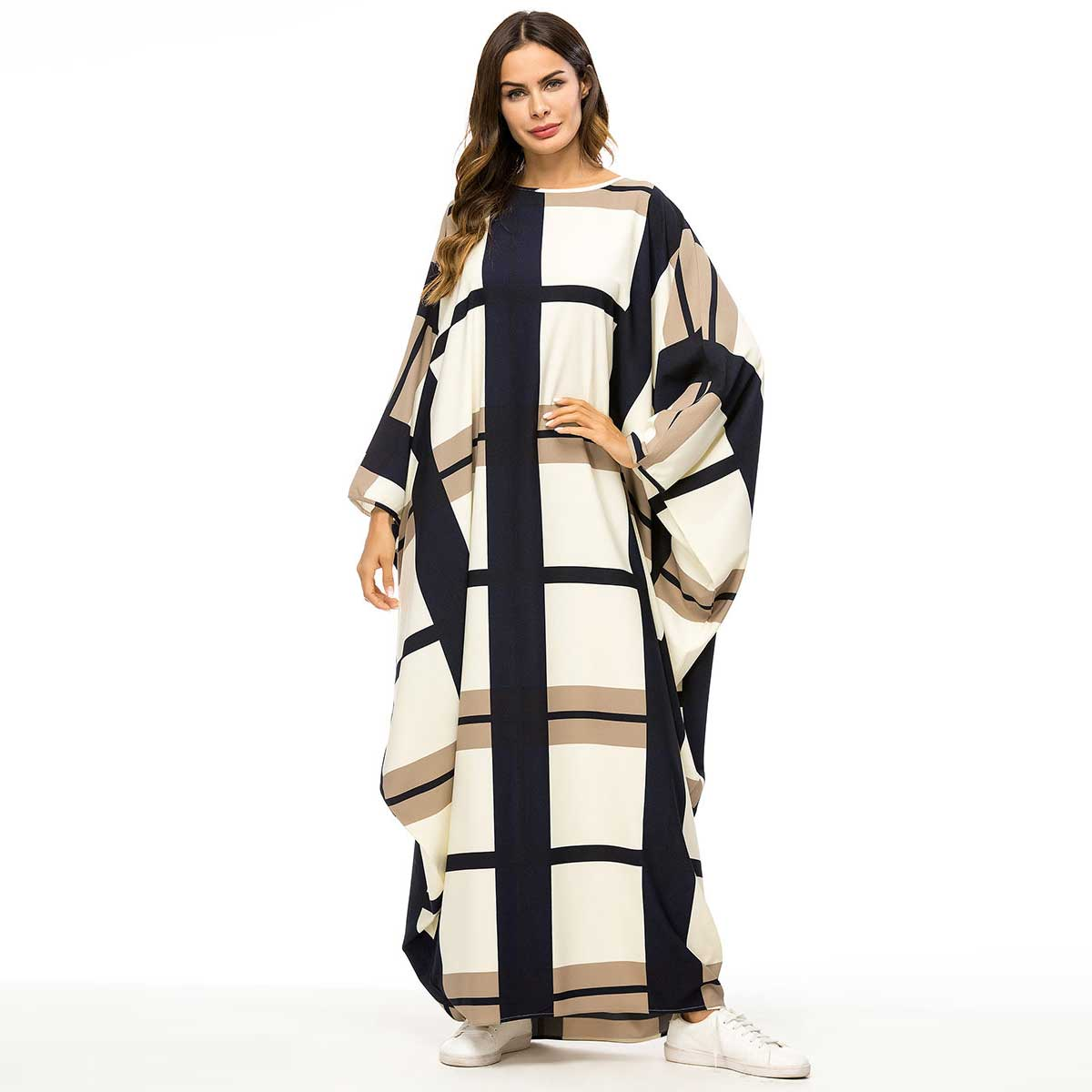 2019 Bat Shape Dress Gowns For Women Fashion Plaid Color Block Muslim Robes Oversized Bat Sleeve Maxi Vestidos Big Size VKDR1457