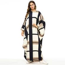 여자를위한 박쥐 모양 드레스 가운 패션 격자 무늬 컬러 블록 이슬람 abaya 아프리카 dashiki 가운 대형 전체 박쥐 슬리브 VKDR1457