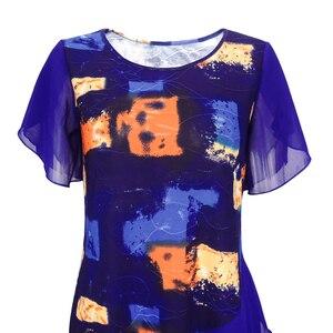 Image 4 - נשים חולצות וחולצות עניבה לצבוע בוהמי הדפסת שכבות שיפון נשי חולצות קיץ קצר שרוול טוניקת H227