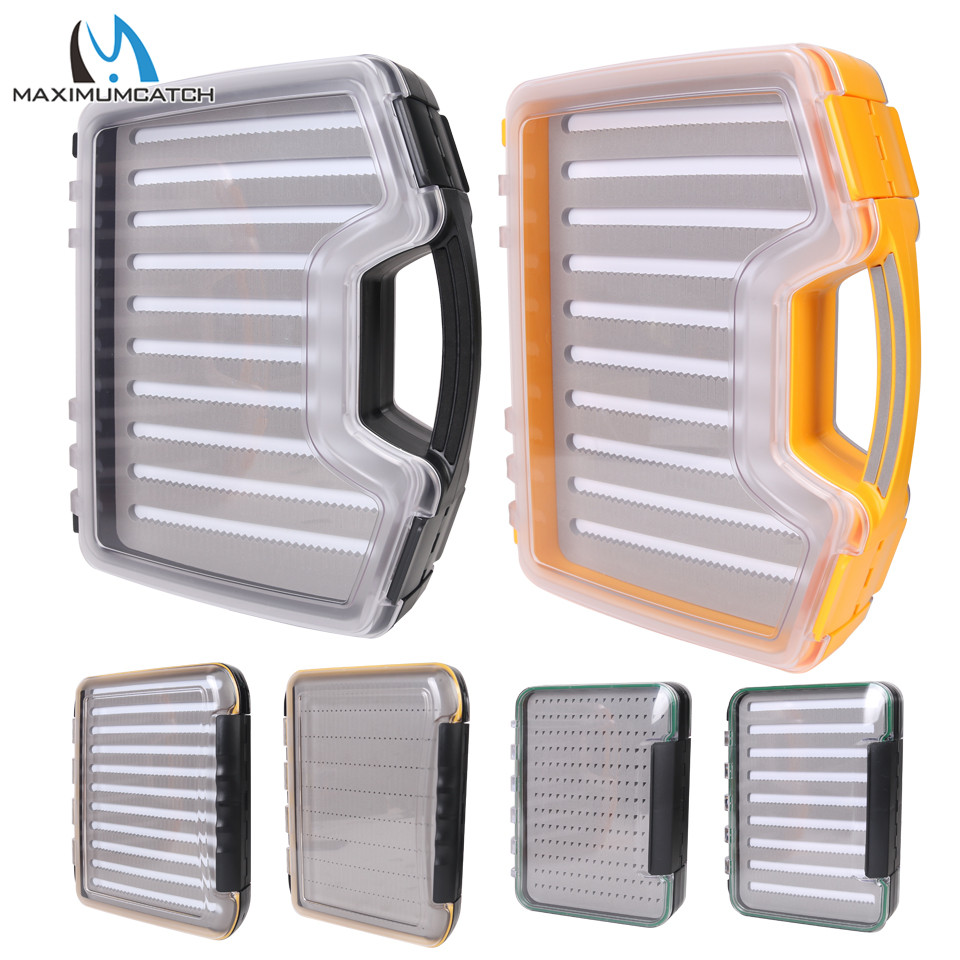 Maximumcatch Large Size Waterproof Fly Fishing Box Slit/Easy Grip Foam Double Side Fly Box Clear Lid Fishing Tackle Suitcase