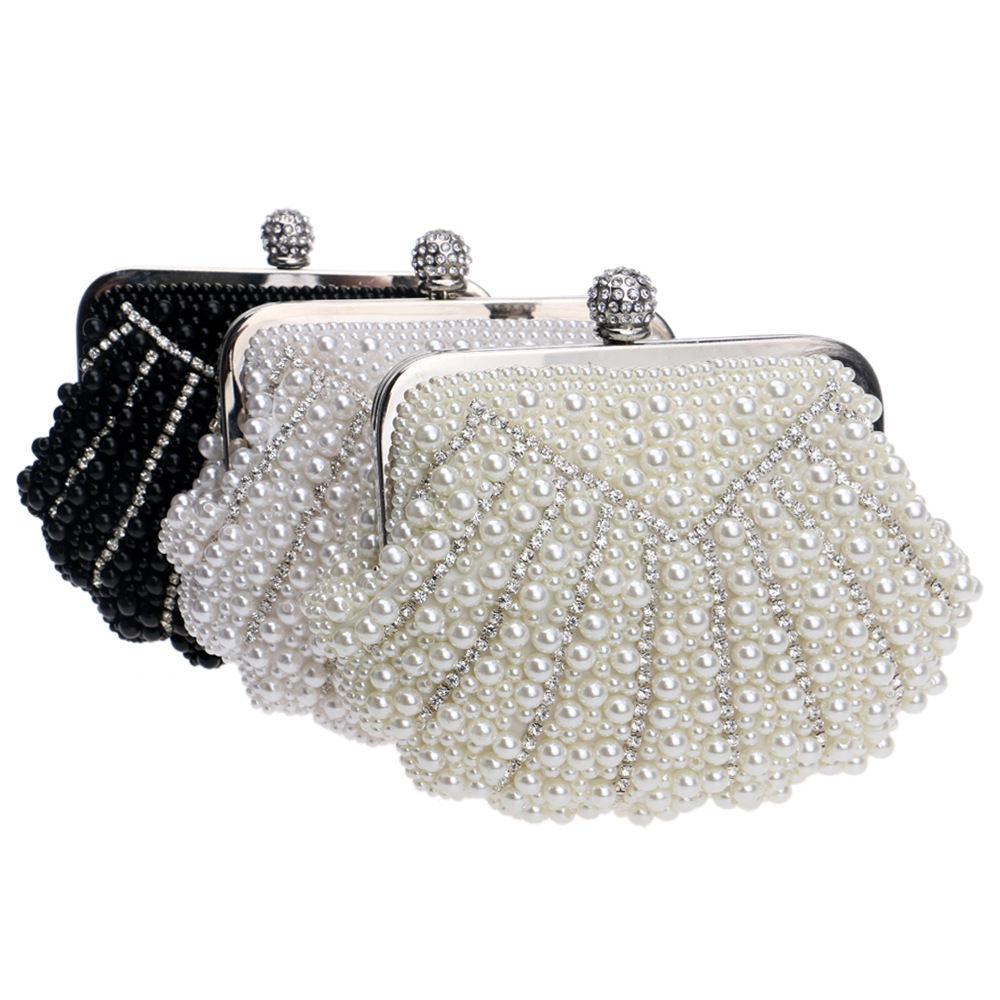 BICOLOR Luxury Fashion Exquisite Beaded Evening Bag Women Elegant Pearl  Clutch Bags Party Bag White Pearl for Ladies Clutch Bag -in Evening Bags  from ... 22035db82269