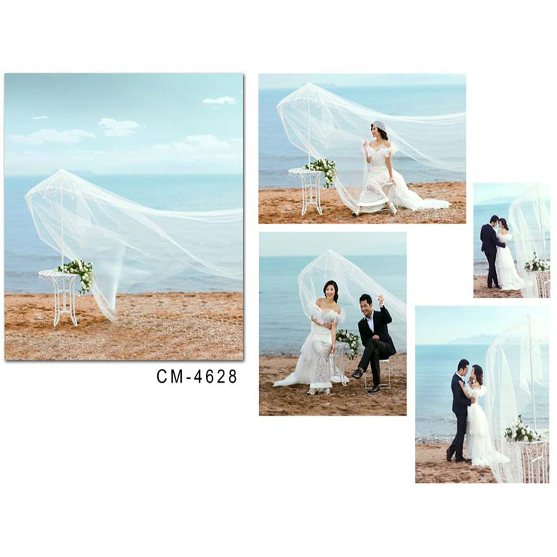 Wedding Photo Background Blue Sky and White Clouds Photo Booth Backdrops White Flowers Ocean Background for Photographic Studio цена и фото
