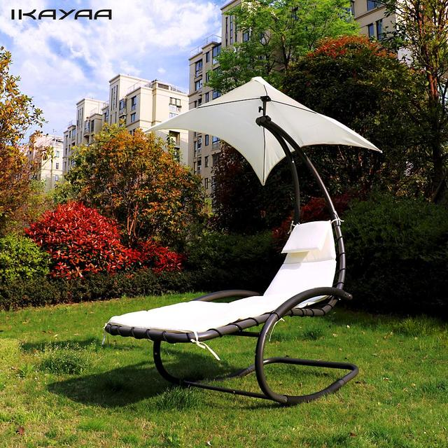 IKayaa Rocking Outdoor Patio Chaise Lounge Chair Canopy Garden Porch Pool  Chaise Rocker Garden Furniture US