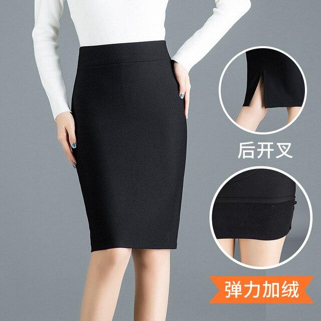7148bc7d9 € 18.82 |Primavera de 2019 flocado faldas las mujeres Corea Sexy Oficina  alta cintura Stretch falda lápiz negro de tamaño más faldas 55 cm en ...