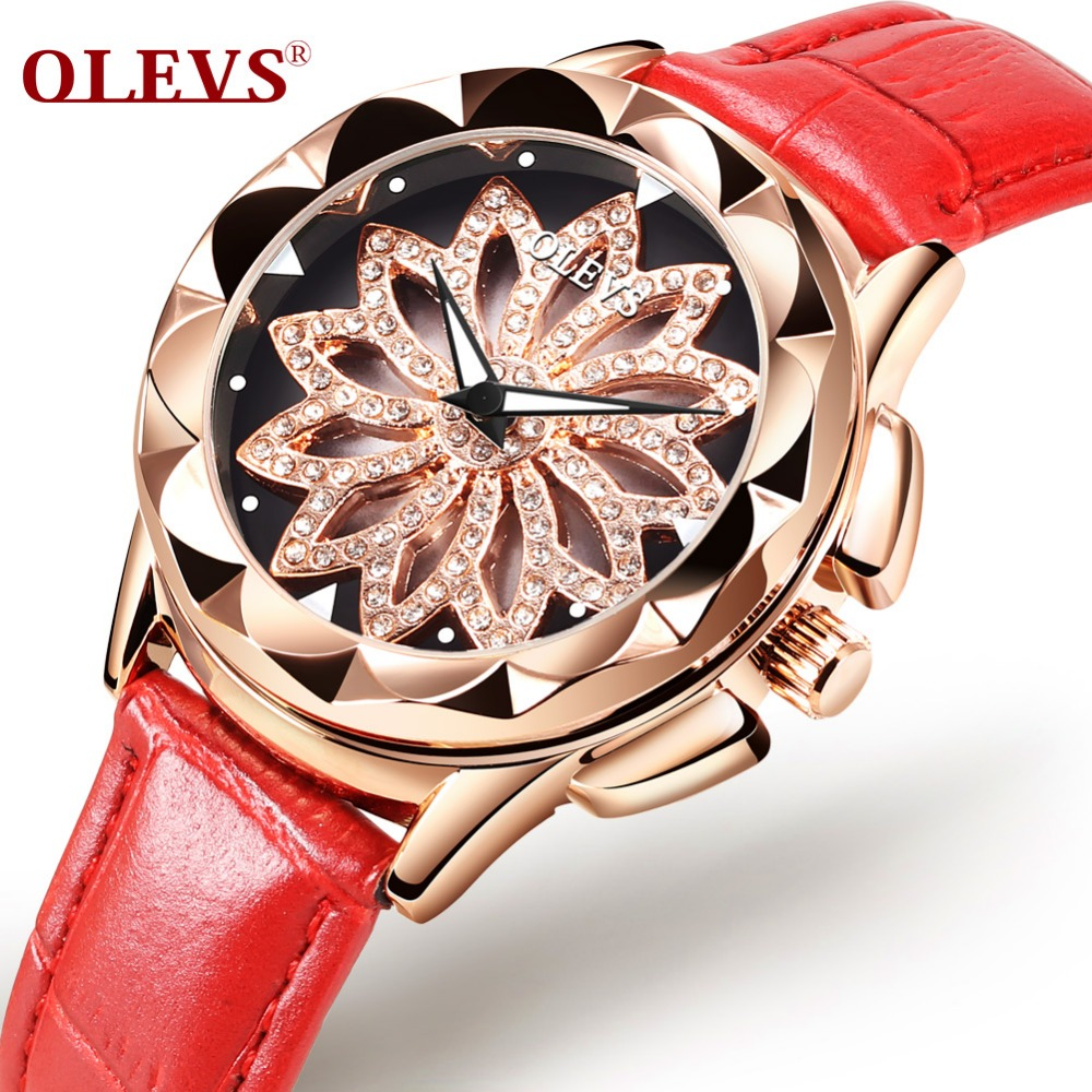 OLEVS Brand Luxury Women Watches Gold hollow out Beautiful design Quartz Ladies Watch Red Leather Clock Girl Wristwatch Luminous olevs 5873 luxury hollow out dial watch women luminous hands golden quartz watches leather wristwatch ladies clock reloj mujer