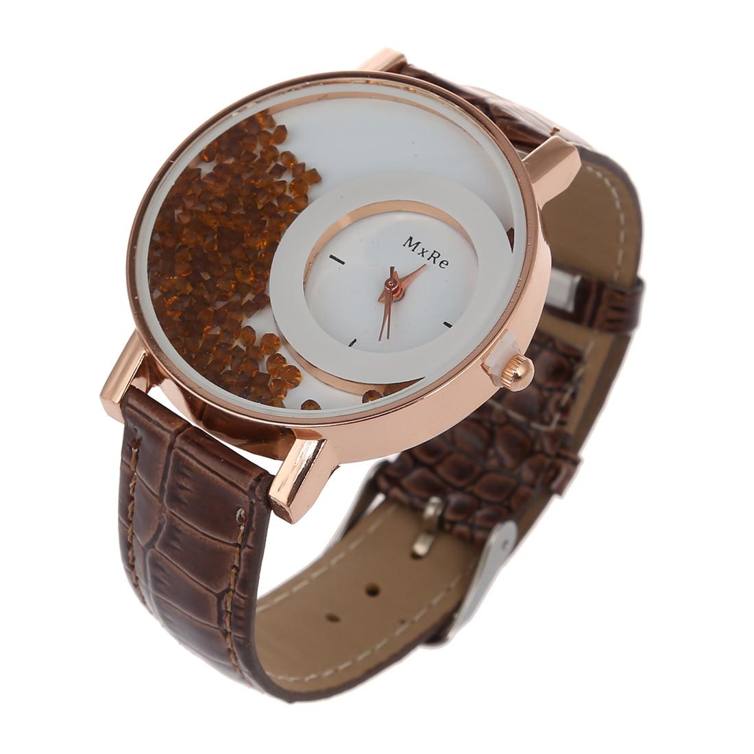 MXRE Women's Rhinestones Faux Leather Wrist Watch Brown
