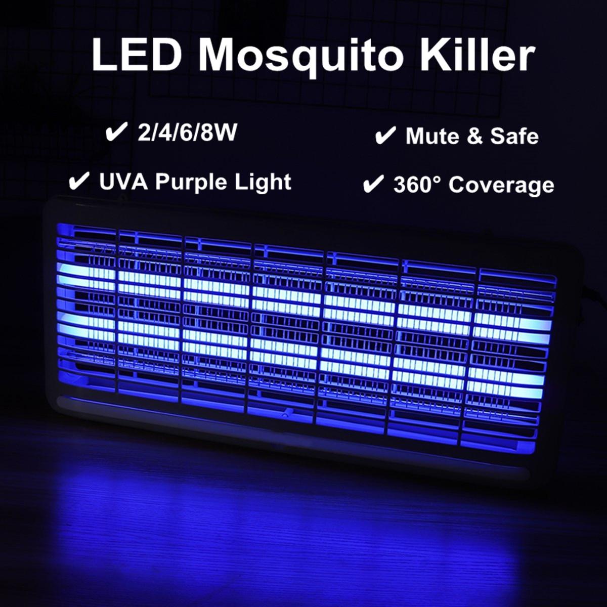 LED de luz eléctrica asesino de insectos UV-A Mosquito Pest Fly Bug Zapper trampas colector 2 W/4 W/6 w/8 W hogar herramientas de Control de plagas