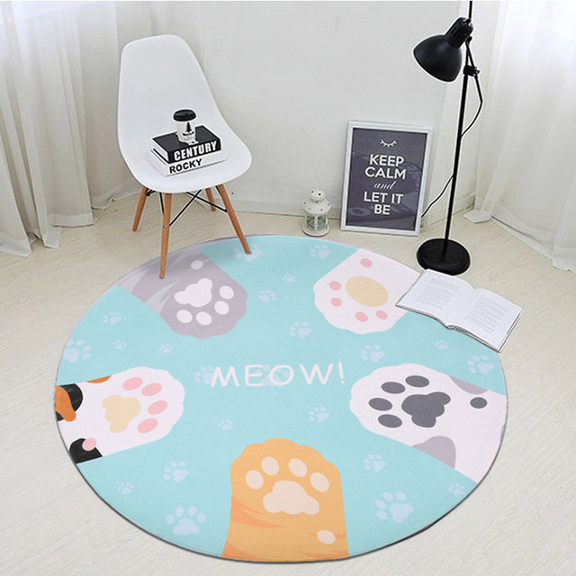 Meng Cat Claw Round Carpets For Living Room Cute Carpet Kids Room Computer  Chair Area Rug