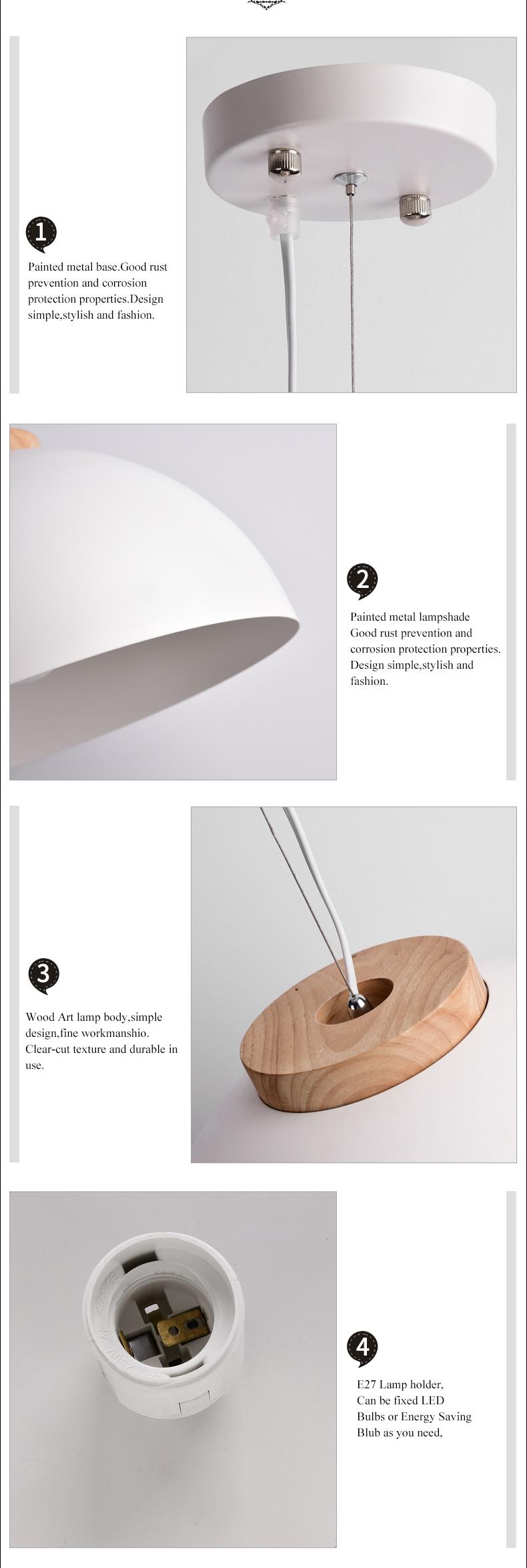 BOTIMI Mushi 人気 ホワイト木製ダイニング軽金属ランプシェード吊りランプ鉄サスペンション照明 5