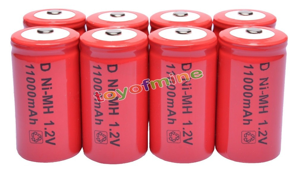 8 pièces D taille 1.2 V 11000 mAh Ni-MH batterie rechargeable pile rouge
