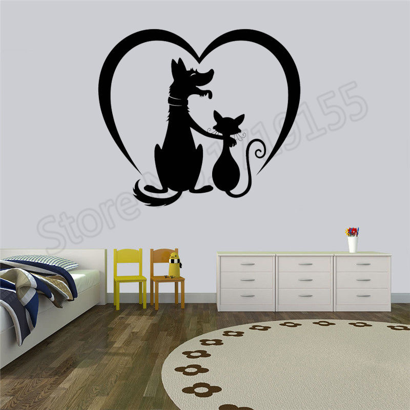 Pets Grooming decal vinyl poster Art Salon Animals Dog and cat Stickers pet Signboard Logo Decoration salon wall stickers ZW21 in Wall Stickers from Home Garden