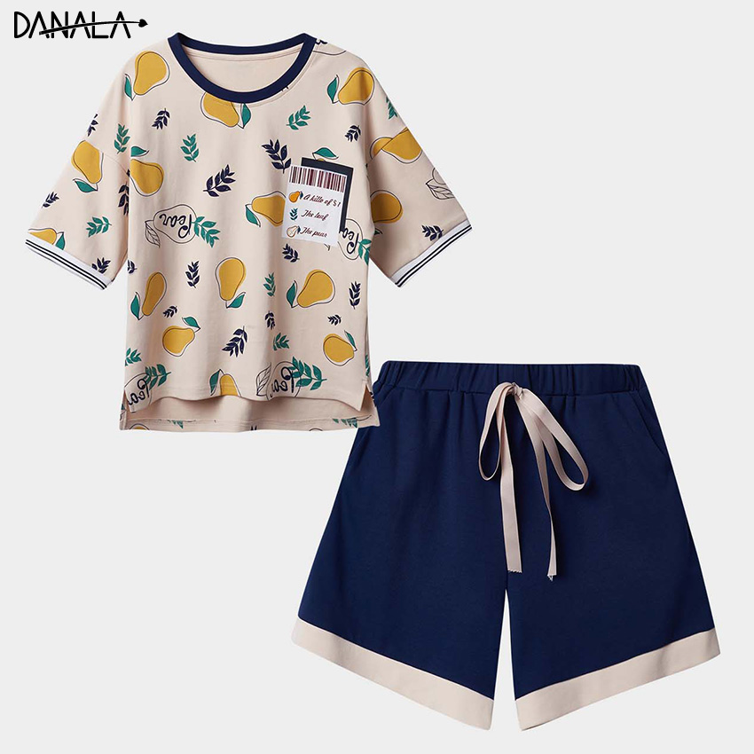 DANALA 100% Cotton Casual   Pajamas     Sets   Women Summer Sexy Cute Print Sleepwear   Sets   Girls Home Clothes For Women Home Suits