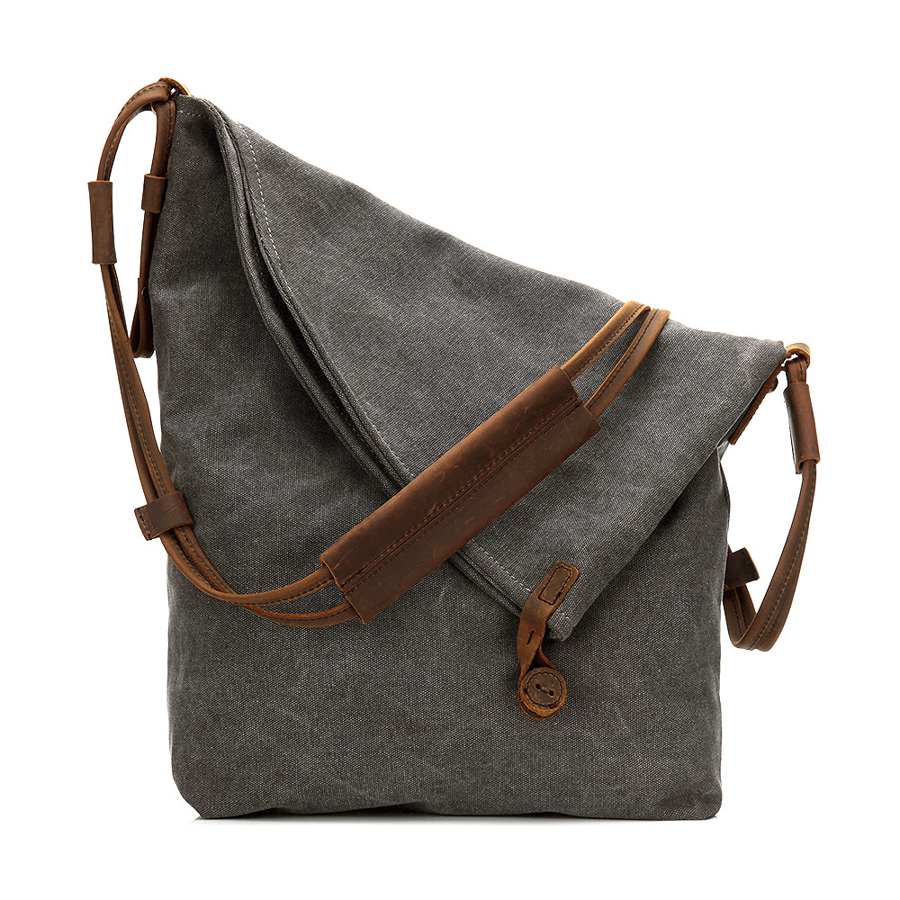 And Shoulder Bags Brands Designer Canvas Handbags Horse Leather Unisex Large Messenger Bags Gray Bolsas