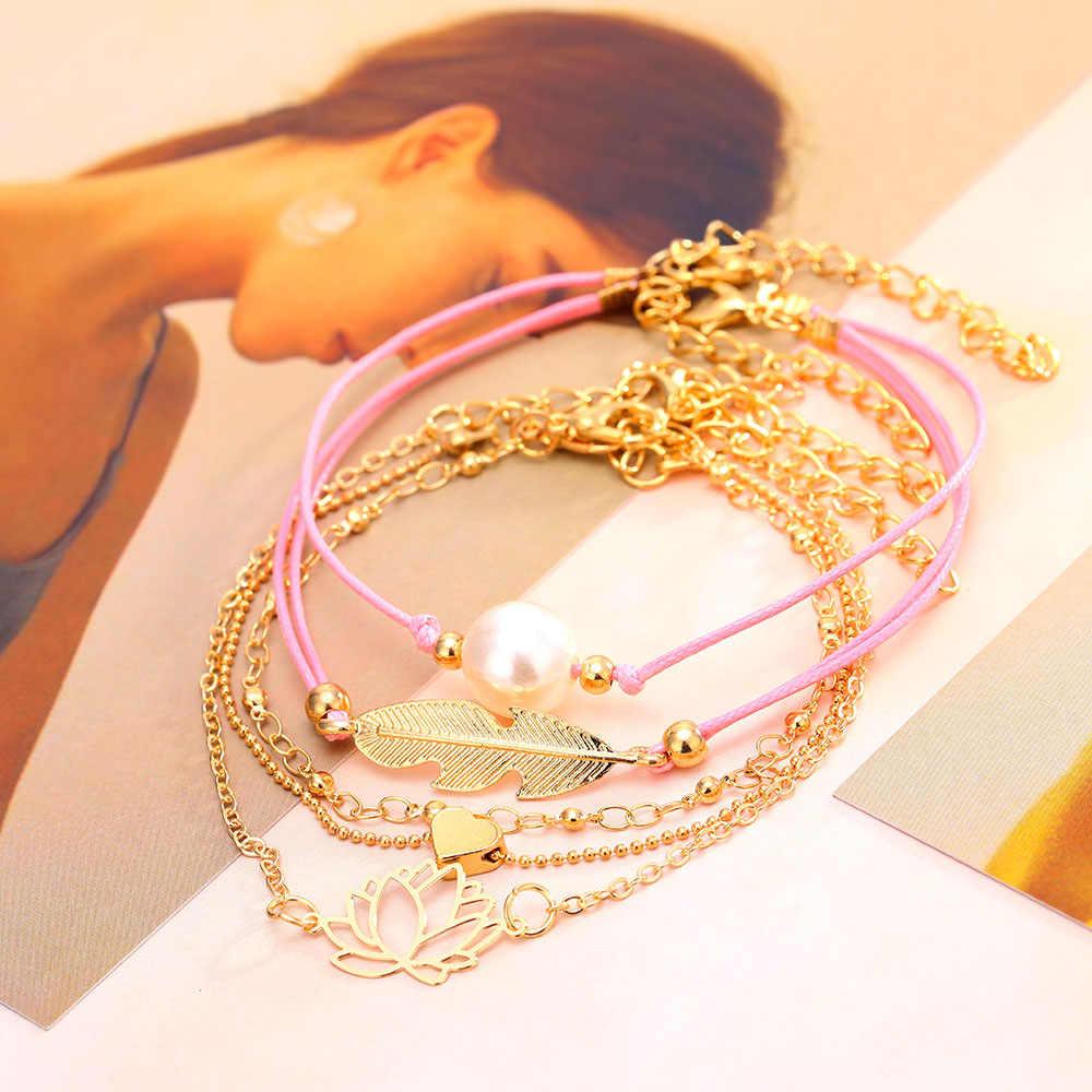 Ailend Drop shipping DIY hand-woven bracelet pearl love leaf five-piece bracelet set bohemian ladies bracelet gift