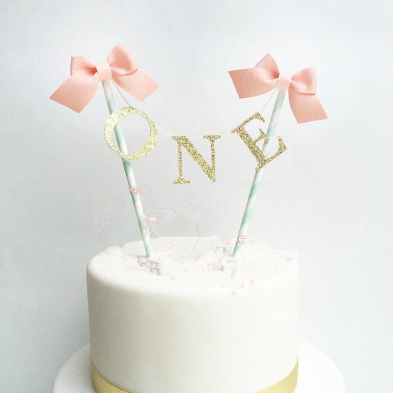 Сначала 1 год счастлив bithday торт Toppers день рождения ребенка Дети День рождения Baby Shower украшения торта праздничные атрибуты