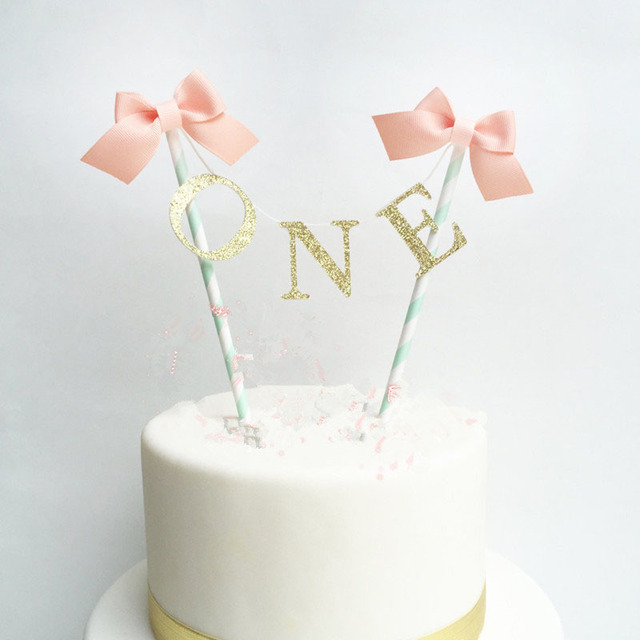 One First 1 Year Happy Bithday Cake Toppers Birthday Party Child