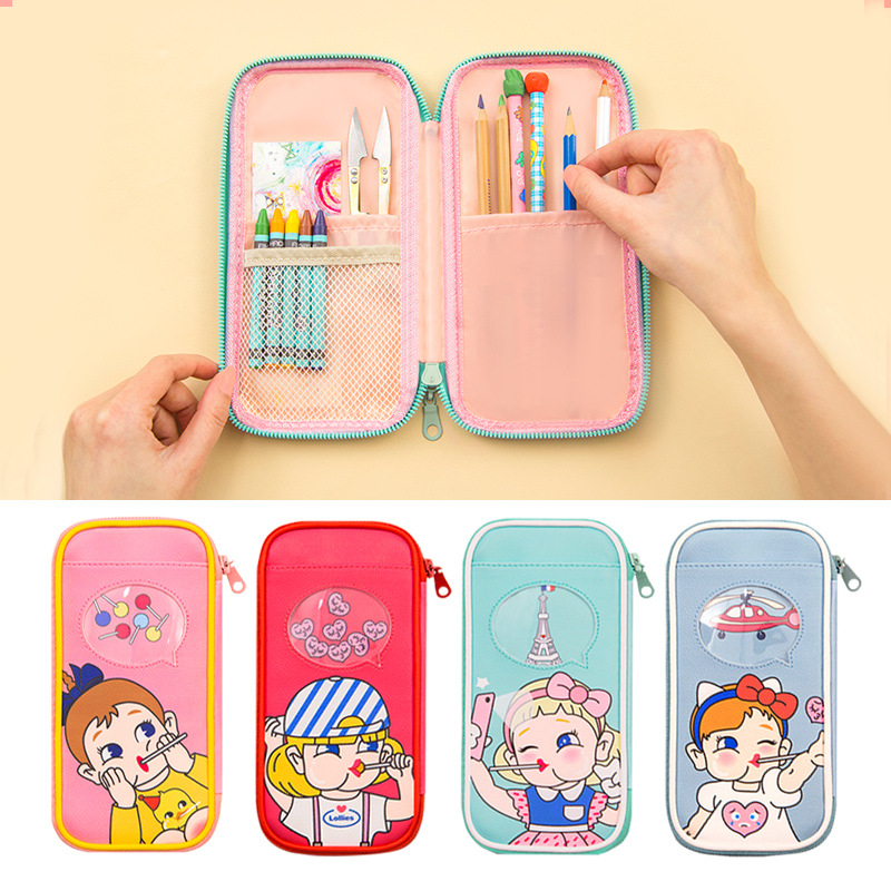 Kawaii Cute Cartoon School Pencil Case PU Leather Multi Layers Penal Pencilcase for Boys Girls Large Pen Bag Stationery Pouch