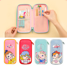 лучшая цена Kawaii Cute Cartoon School Pencil Case PU Leather Multi Layers Penal Pencilcase for Boys Girls Large Pen Bag Stationery Pouch