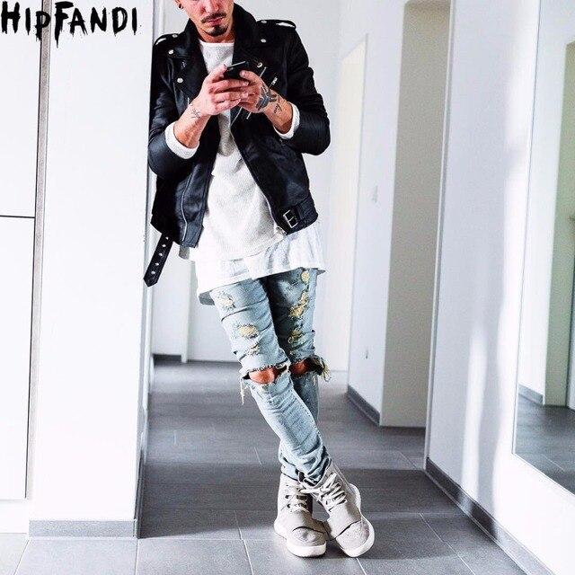 d072339bb4a HIPFANDI Kanye west represent Mens european Clothing Men blue/black  designer rock star Hole ripped skinny distressed Men jeans