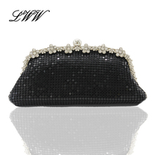 Neue Partei Kleid Kleine Feste Roman Schwarz Mode Abend Handtaschen Kupplungen Frauen mit Exquisite Diamanten