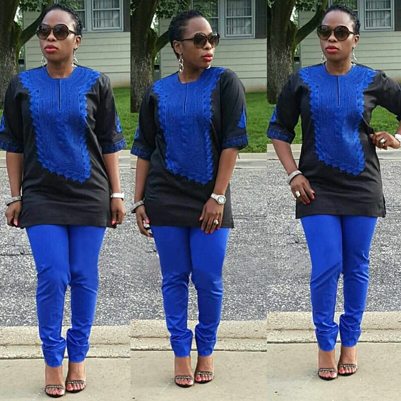 H&D 2019 African Women Clothing African Traditional Set Riche Bazin Embroidery Design Dresses Blue Black Lady Top With Pants