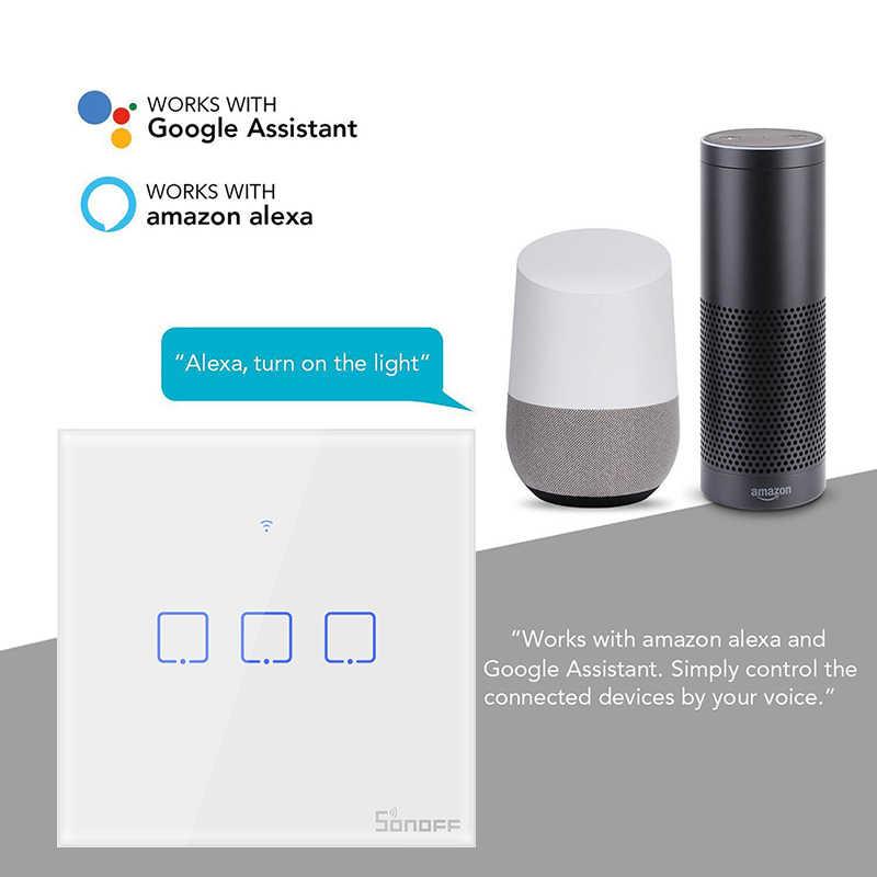SONOFF T0 w usa/ue/wielkiej brytanii TX 1/2/3 Gang głos/Ewelink/sterowanie dotykowe wifi inteligentne ścianie włącznik światła podstawowe zegar z Alexa Google domu