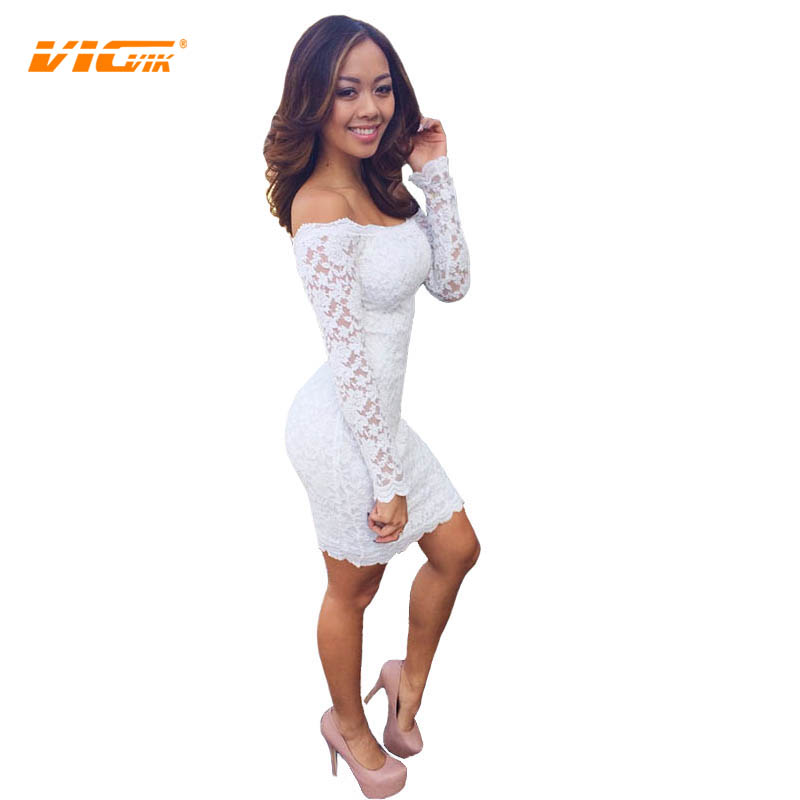 Vicvik Brand Women Summer Lace White Black Dress Wedding -9414