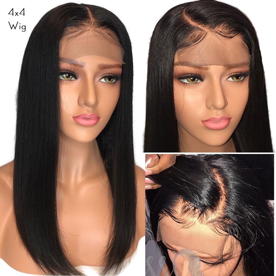 Alibele 4x4 Lace Front Human Hair Wigs 150 Remy Brazilian Straight Human Hair Wig For Black