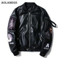 Aolamegs Leather Jackets Embroidery Logo PU Men S Jacket MA 1 Stand Collar Fashion Outwear Autumn