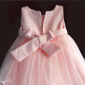 Image 4 - Brand New Baby Girl Dresses Pink White Pearl Bow Party Pageant Dress Little Kids Children Dress for Party Wedding Size 6M 4T
