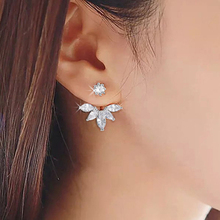 Trendy Cubic Zircon Sliver Color Flower Jacket Earrings For Women Girl Gift Jewelry