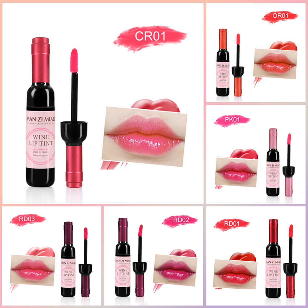 1PC Sexy Waterproof Wine Red Shape Lip Tint Gloss Baby Pink Lip For Women Batom Makeup Liquid Lipstick Lipgloss Cosmetic Tools