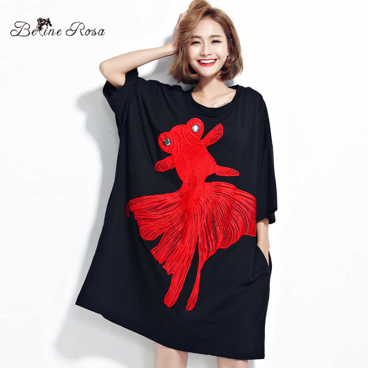 1ed4f998872 BelineRosa плюс Размеры Для женщин платья Лето 2017 г. вышивка большая  золотая рыбка Туника большого