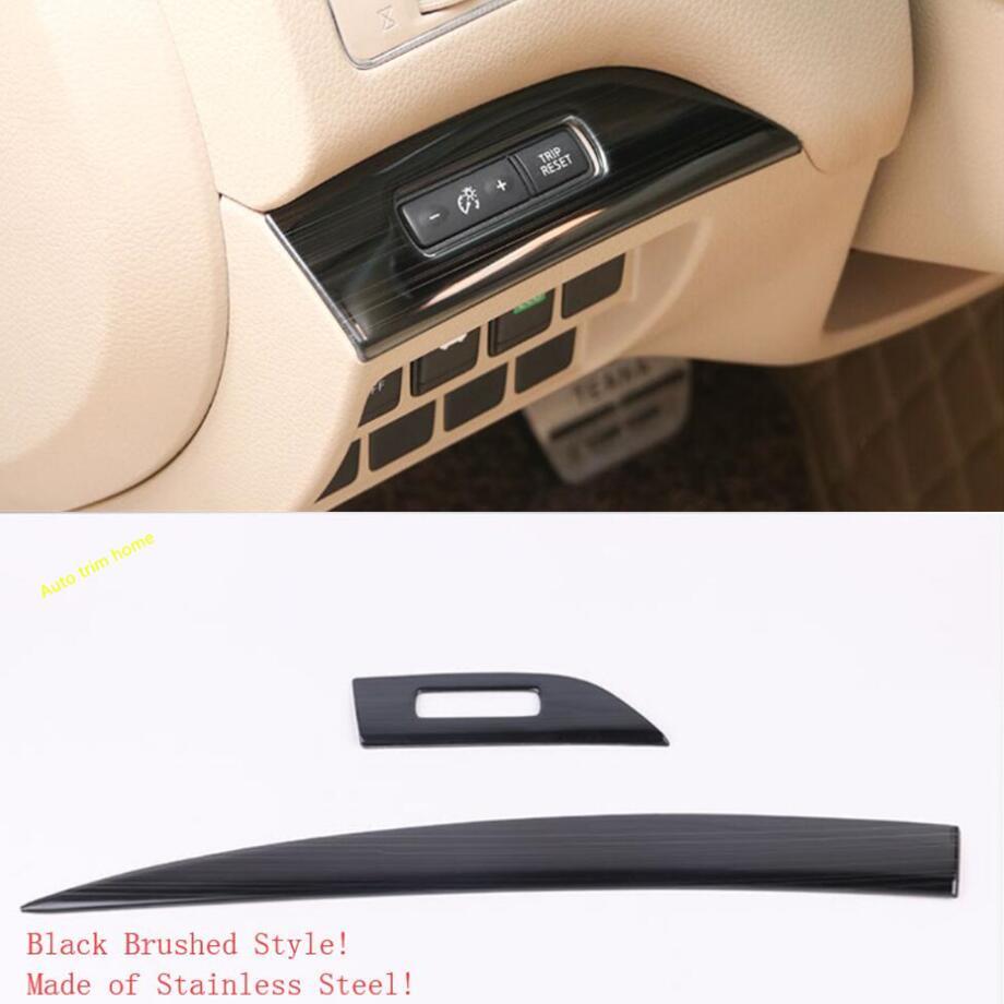 Lapetus Acier Inoxydable Dashboard Kilométrage Bouton Interrupteur Panneau de Commande Central Cover Version Pour Nissan Altima/Teana 2013-2018