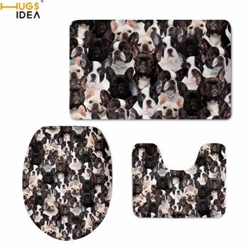 HUGSIDEA Cute French Bulldog/Boston Terrier Print Toilet Seat Covers Washroom Warm Bath Accessories Carpet Soft Bathmat 3PCS Set