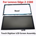 15.6'' Assembly +Bezel LCD Screen Touch Glass Replacement For Lenovo Edge 2-1580 80QF0005US 80QF0004US NV156FHM-N42 NV156FHM-A13
