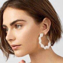 hot deal buy 2018 leopard print earrings trendy black white earrings for women geometric irregular leopard round acrylic earrings