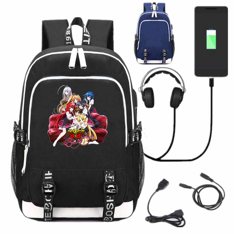 New Anime High School DxD School Backpack USB Charge Interface Bags Black Shoulder Laptop Travel Bags