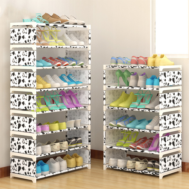 Multi Layer Shoe Rack Nonwovens Steel Pipe Easy to install home Shoe cabinet Shelf Storage Organizer Stand Holder Space Saving 5