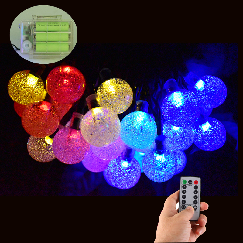 Battery Powered 30 Led Crystal Ball String Lights Outdoor 8 Modes Dimmable Waterproof Globe Fairy Lights For Patio Garden Yard