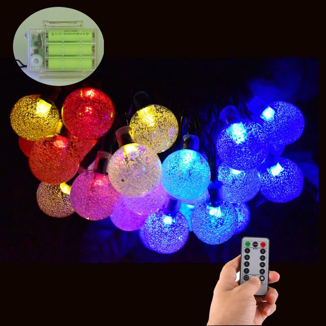 Battery powered 30 led crystal ball string lights outdoor 8 modes battery powered 30 led crystal ball string lights outdoor 8 modes dimmable waterproof globe fairy lights aloadofball Image collections
